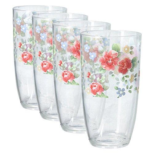 Pfaltzgraff Tea Rose Acrylic Tumblers, Set of 4