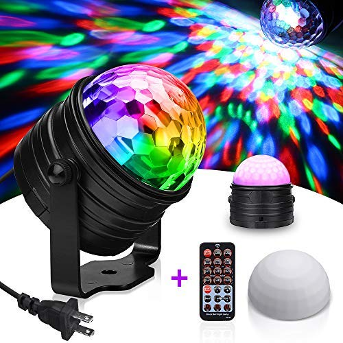 SOLMORE RGB Party Lights Sound Activated Disco Ball Strobe Light Disco Lights DJ Lights with Remote Control LED Stage Light for Kids Bedroom Wedding Party Birthday 3W