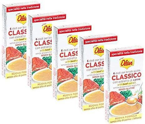 6 dados más viejos para caldo sabor clásico sin lactosa sin glutamato añadido sin gluten sin aceite de palma - 5 x 64 gramos
