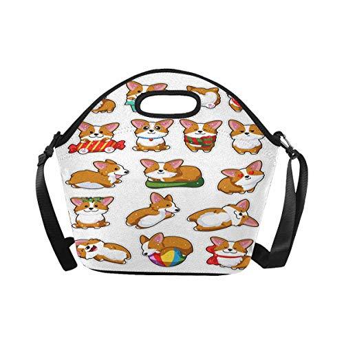 InterestPrint Neoprene Lunch Tote Bag Cute Dog Breed Welsh Corgi Reusable Lunchbox with Shoulder Strap