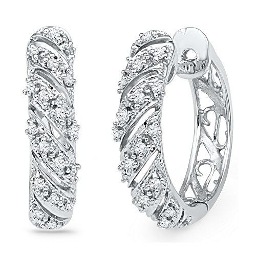 Diagonal Hoop (Roy Rose Jewelry 10K White Gold Womens Round Diamond Diagonal Stripe Hoop Earrings 1/6-Carat tw)