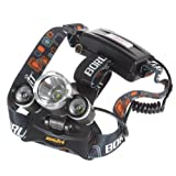 WindFire® 3X CREE XM-L T6 U2 4 Modes Super Bright 5000Lm Headlamp with Adjustable Base 18650 Rechargeable Batteries Cree LED Lamp Headlight Bicycle Light with AC Charger for Camping, Hiking, Climbing, Cycling, Travelling(Batteries not included)