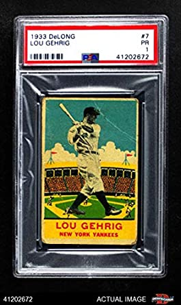 cheap for discount 95585 b9fe3 Amazon.com: 1933 DeLong Gum R333# 7 Lou Gehrig New York ...