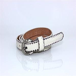 Melodycp Elegante Cinturón Reversible de Cuero para Mujer Cinturón clásico de Cuero Genuino para Mujer Casual para Pantalones de Vestir Elegante (Color : Blanco, tamaño : L)