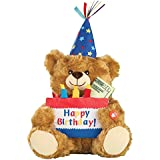 Collections Etc Musical Happy Birthday Plush Bear with Cake-Shaped Holder for Gift Cards or Cash