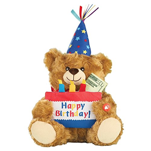 Collection Bear Birthday - Collections Etc Musical Happy Birthday Plush Bear with Cake-Shaped Holder for Gift Cards or Cash