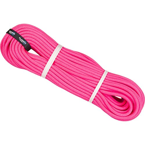 BlueWater Ropes 9.7mm Lightning Pro Double Dry Dynamic Single Rope (Solid Neon Pink, 60M)