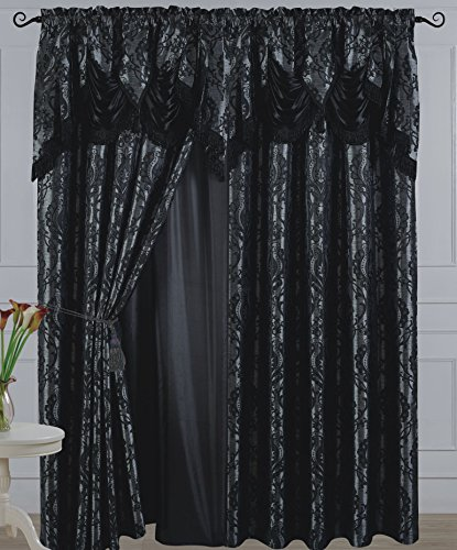 All American Collection New 2 Panel Jacquard-Like Polyester Curtain with Attached Valance and Sheer Backing (110