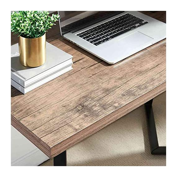 UnaFurni Rustic Computer Desk, Vintage Industrial Simple Writing Desk, Metal and Wood Study Table for Home Office… -  - writing-desks, living-room-furniture, living-room - 51NSXEOlMbL. SS570  -