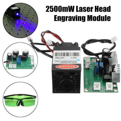 2.5W 450nm 12V Blue Laser Diode Module TTL Carving Engraver + Goggles