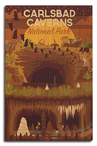 (Lantern Press Carlsbad Caverns National Park, New Mexico - Geometric (10x15 Wood Wall Sign, Wall Decor Ready to Hang))