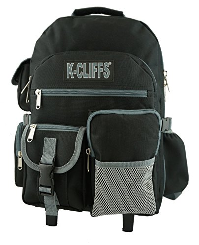 Rolling Backpack Heavy Duty School Backpack with Wheels Deluxe Rolling Book Bag Daypack multiple Pockets Black (Rolling Heavy Duty Backpack)