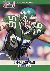 Autograph Warehouse 39477 Jeff Lageman Autographed Football Card New York Jets 1990 Pro Set No. 236