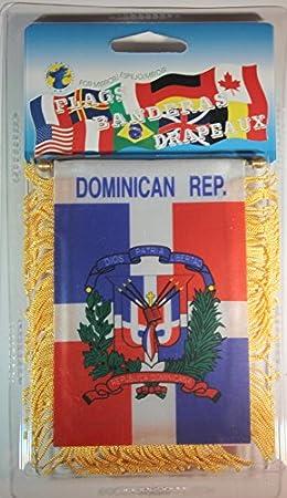 Dominican Republic Mini Banner Flag Window Mirror W// D.R Car Headrest Cover