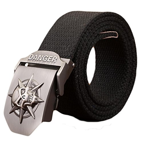 Ayli Men's Gothic Skull Tactical Canvas Web Belt, Metal Buckle, with Key Chain, Black, Fits All Pant Sizes Below 40