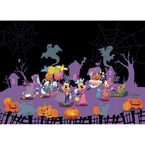 Photography Backdrop Black and Purple 7x5ft Light Pumpkin Minkey and Minnie Mouse Photo Background Halloween Masquerade Party Photo Backdrop Portrait Pictures -