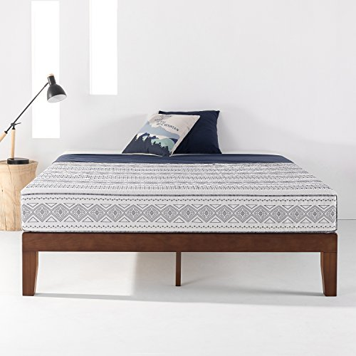 "Best Price Mattress 12"" Classic Soild Wood Platform Bed Frame w/Wooden Slats (No Box Spring Needed), Queen, Antique Espresso"