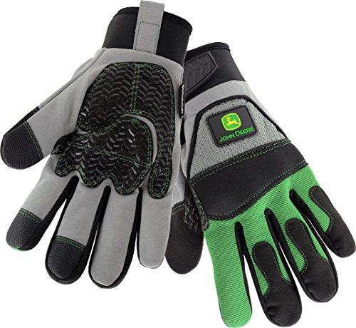 John Deere JD96650 2XL Hi-Dex with Touch, 2XL, Gray Black Green (1 pair)