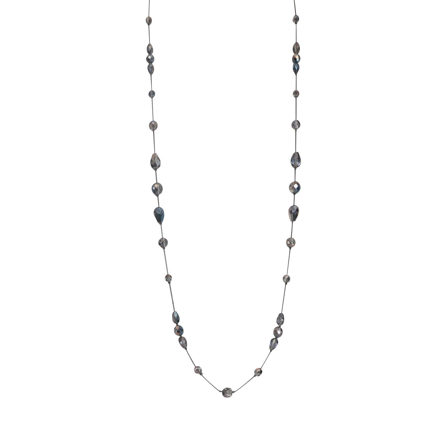 LaRaso & Co Long Necklace for Women Handcrafted Silver Tone Czech Glass Crystal Bead
