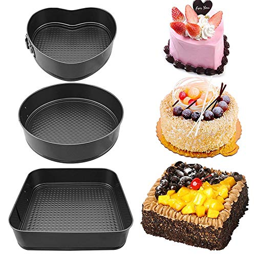 Gano Zen Cake Pan Set Set of 3 Round Heart Rectangular Cake Tin Set 8'' 9'' 10'' Inch Non Stick Springform pan Bakeware Cheesecake Pan Loose Base