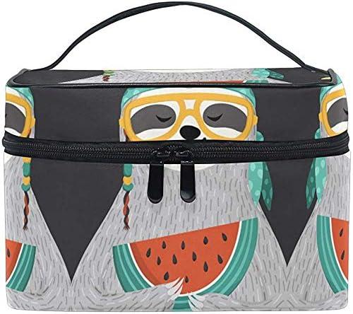 Bolsa de Maquillaje Oso Perezoso Flor de sandía Viajes Bolsas de cosméticos Organizador Estuche de Tren Artículos de tocador Maquillaje: Amazon.es: Equipaje