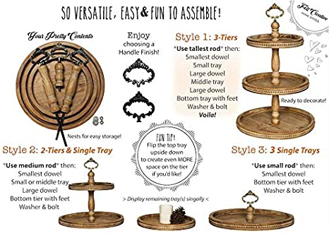 2 Tier Tray Beaded Wooden Serving Stand by Felt Creative Home Goods Farmhouse Small Two Tiered Tray for Home Decor and Display 2 Tier, Black Holiday or Dessert Includes Three Finished Finial Custom Handles Country Decoration for Kitchen or Dining