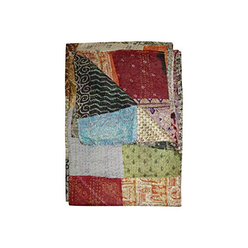 "Kantha Silk Throw Quilt Blanket 60″""x90″"""