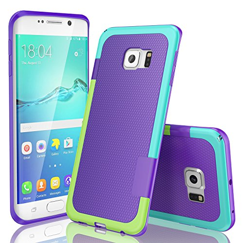 Galaxy S6 Edge Case, TILL(TM) Ultra Slim 3 Color Hybrid Impact Anti-slip Shockproof Soft TPU Hard PC Bumper Extra Front Raised Lip Case Cover for Samsung Galaxy S6 Edge S VI Edge G925 [Purple]