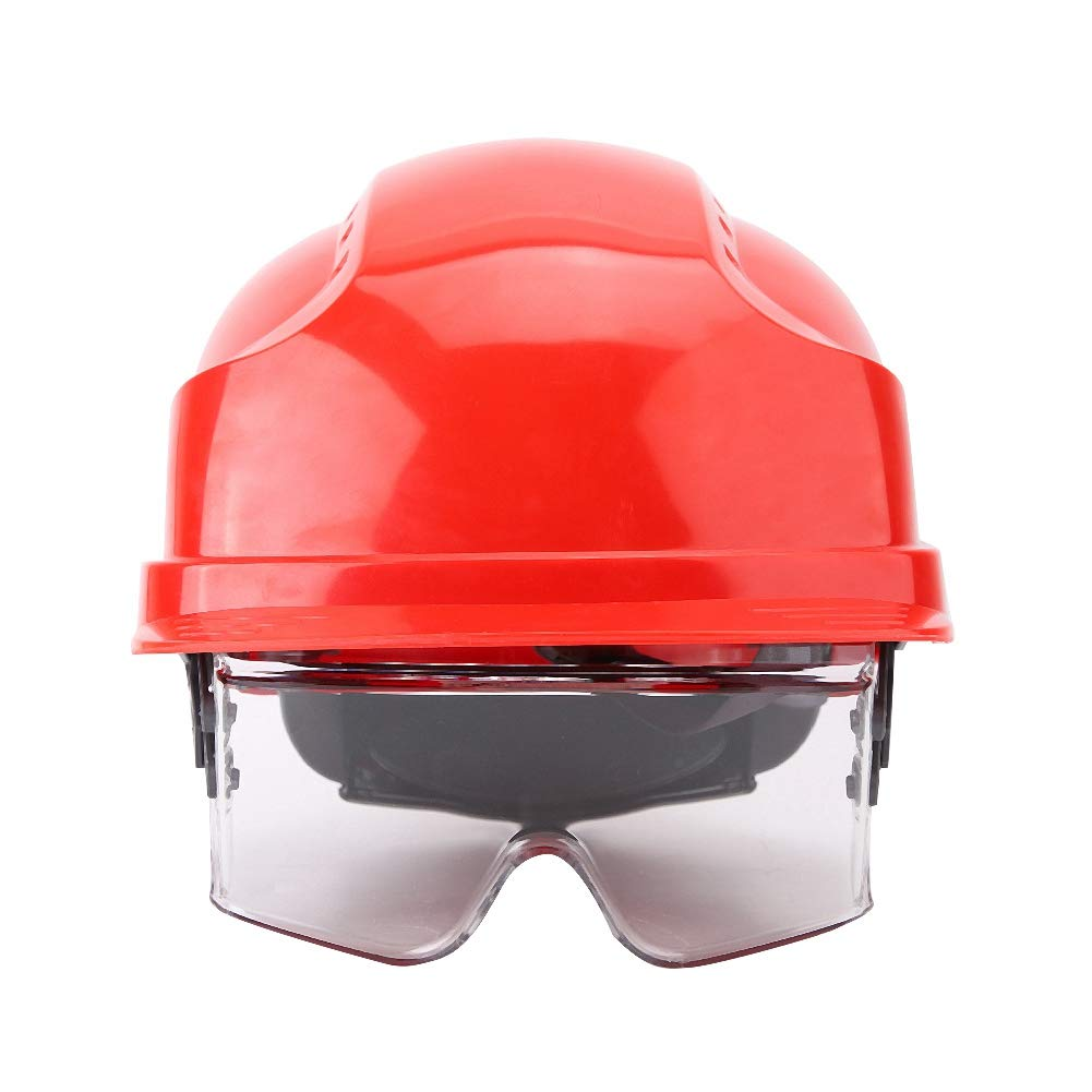 Visor Helmet Hard Hat Defender Built-in Goggles Helmet Safety Hat with Goggle(Red) by Sonew