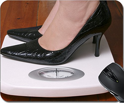 MSD Natural Rubber Mousepad Mouse Pads/Mat design: 9304694 Lady wearing black stilletoes on bathroom scale