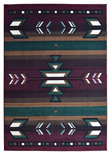 Rugs 4 Less Collection Southwest Native American Indian Area Rug Design R4L SW1 in Burgundy / Maroon (5