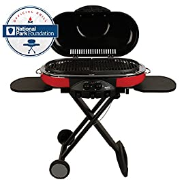 Coleman Propane Grill | RoadTrip LXE Portable Gas Grill 29 Perfect Flow Pressure Control System for steady heat, even in the cold Portable grill sets up in seconds East to transport, folds to compact size with large handle and wheels for easy pulling