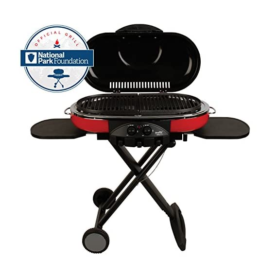 Coleman Propane Grill | RoadTrip LXE Portable Gas Grill 1 Perfect Flow Pressure Control System for steady heat, even in the cold Portable grill sets up in seconds East to transport, folds to compact size with large handle and wheels for easy pulling