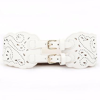 Mujer Invierno Nuevos productos Hebillas dobles Tallado Hueco Cintura sello  Elástico Ancho Cintura Cinturón Cinturón Moda d3c9d93e4f47