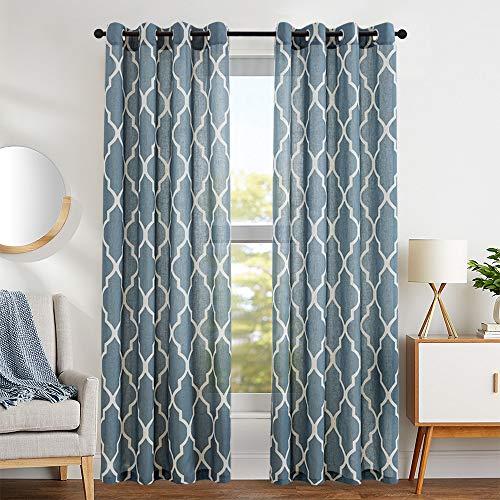 Quatrefoil Linen Curtains Flax Linen Blend Curtain Textured Lattice Moroccan Tile Print Kitchen Window Treatment Set for Living Room Geometry - 50 x 63 inch - (Blue, Set of 2 Panels)