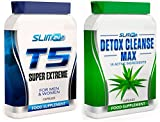 T5 FAT BURNERS x60 + DETOX CLEANSE x60 - T5 Super Extreme Max Strength Thermogenic Fat Burner and Colon Cleanse Detox Capsules - Slimming Diet Pills   Suppress Appetite, Boost Metabolism and Increase Energy for Weight Loss