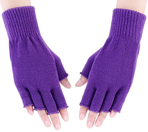 Purple Fingerless Gloves (Crochet Hand Warmer Men Women Fashion Arm Warmers Knit Wrist Gloves Purple)