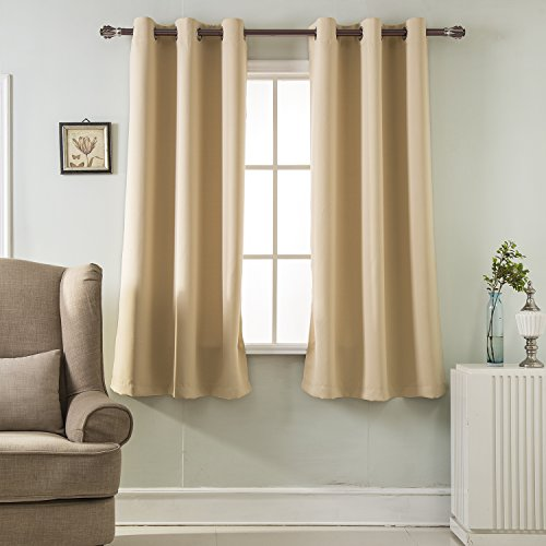 BEST DREAMCITY Triple Weave Home Decoration Thermal Insulated Solid Ring Top Blackout Curtains/Drapes for Bedroom, Set of 2 Panels, W42 x L63, Tan (Textured Shade Tan)