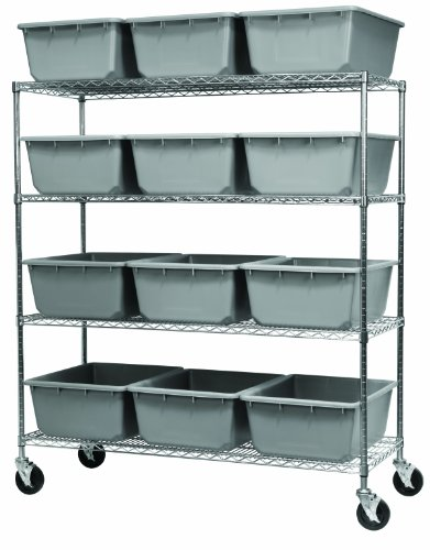 (Akro-Mils AWS2460M34240 Mobile Chrome Wire Bin System with 4 Shelves, 24-inch x 60- inch x 68- Inch Shelving Unit, 12 34240 AkroTubs Gray)