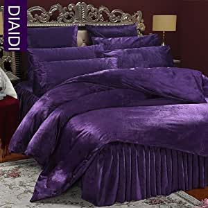 Diaidi home textile luxury soft velvet bedding for Exclusive plum bedroom