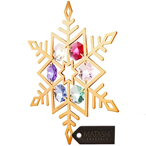 Matashi 24K Gold Plated Highly Polished Snowflake Ornament Made with Genuine Crystals (Colored Crystals, Gold)