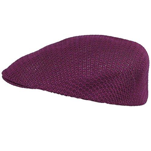 Summer Mesh Vented Ascot Flat Visor Golf Ivy Driver Cabby Cap Hat Purple S/M