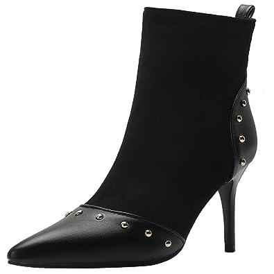 YE Damen Stiletto Stiefeletten High Heels Ankle Boots mit