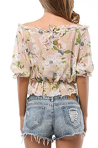 3/4 manga camiseta Floral de Gasa suelta cultivo camisas las apricot