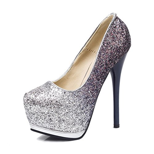 Sandalias de punta de gradiente de tacón alto Tacones de tela brillante estupendo Color de hechizo Zapatos de tacón alto Zapatos finos Sandalias mixtas Mujer Primavera Verano Otoño GAOLIXIA Black