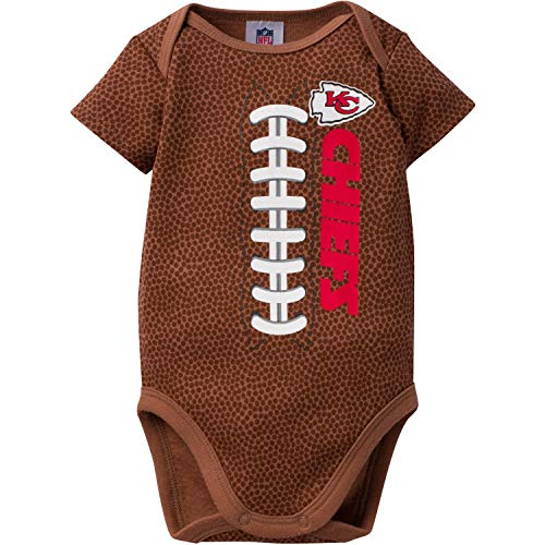 NFL Kansas City Chiefs Unisex-Baby Football Bodysuit, Brown, 6-12 Months ()