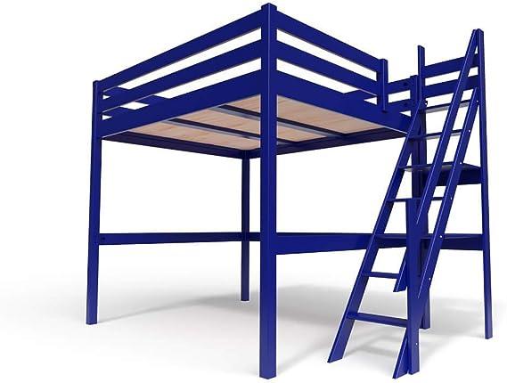 ABC MEUBLES - Cama Alta Sylvia con Escalera empinada - 1130 - Azul Oscuro, 160x200: Amazon.es: Hogar