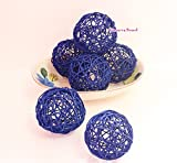 Thailand's Gifts : Blue Medium Rattan Ball, Wicker Balls, DIY Vase And Bowl Filler Ornament, Decorative spheres balls, Perfect For Decoration And Party 3-3.5 inch, 6 Pcs (Free Gift From Conserve)