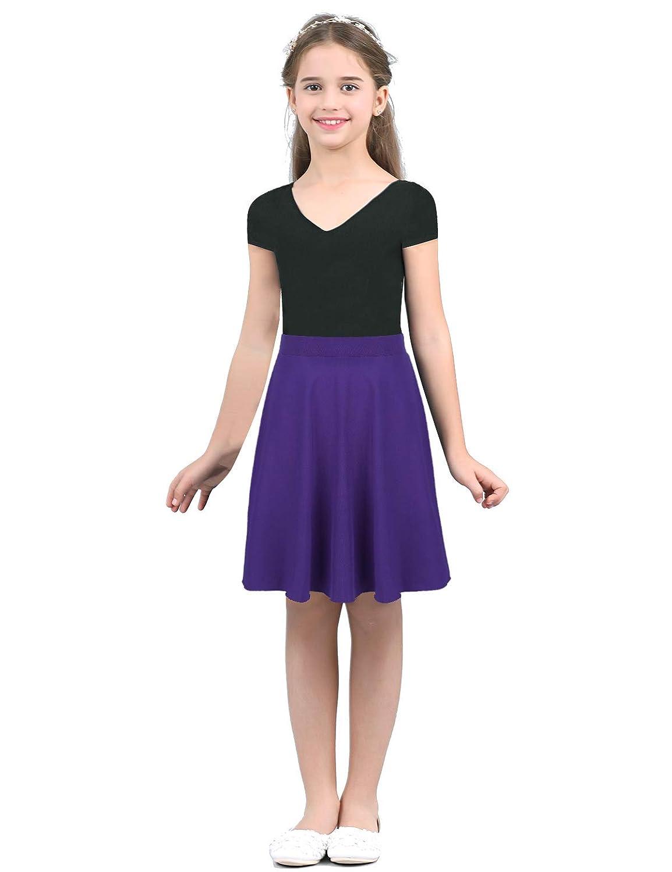 dPois Kids Girls School Uniform High-Waisted A Line Full Circle Dance Dress Skater Skirt Plain Pleated Mini Skirt Dancewear