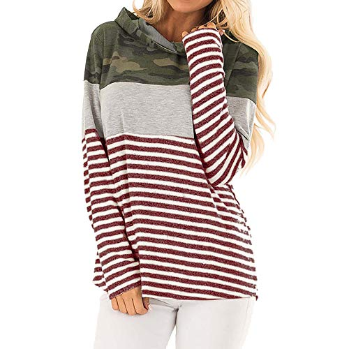 Keliay Bargain Womens Casual Long Sleeve Hoodie Striped Camouflage Print Blouse Tops T Shirt